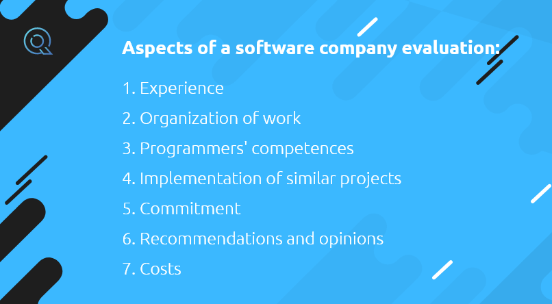 Aspects of a software company evaluation